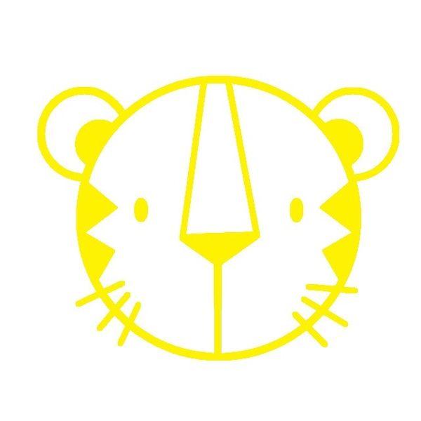 tigerkopf gelb velours motiv zum aufb geln silhouette. Black Bedroom Furniture Sets. Home Design Ideas