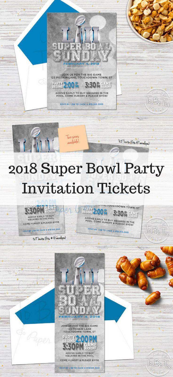 2018 Super Bowl Party Invitation Ticket | Printable Invitation #ad #superbowl #superbowlparty #printable #instantdownload #party #partyideas #invitations #invitation