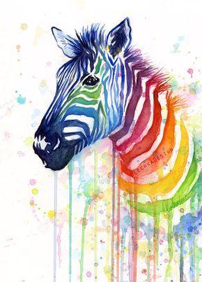 Zebra aquarel Rainbow schilderij Giclée Print, Zebra Art, Zebra schilderij, Ode aan Fruit strepen; Kleurrijke dierlijke kunst, grillige dierlijke kunst