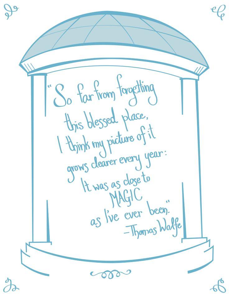 UNC Chapel Hill print. Quote by novelist Thomas Wolfe  www.sterlingmuellerdesign.com