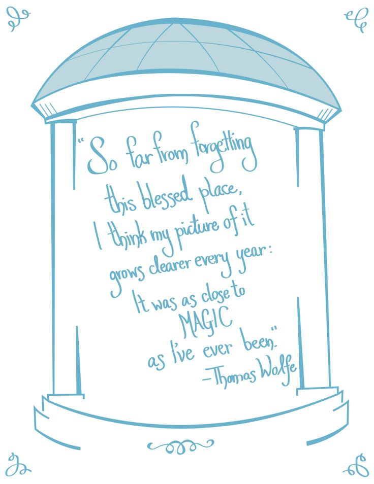 UNC Chapel Hill print. Quote by novelist Thomas Wolfe  www.sterlingmuellerdesign.com
