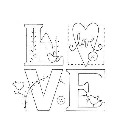 L.O.V.E. embroidery pattern