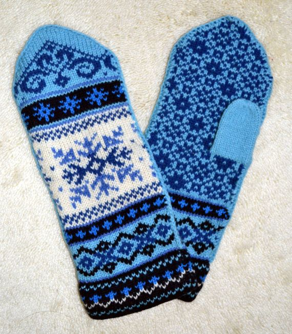 Norwegian Scandinavian hand crafted 100% Wool Mittens, folk art, Fair Isle