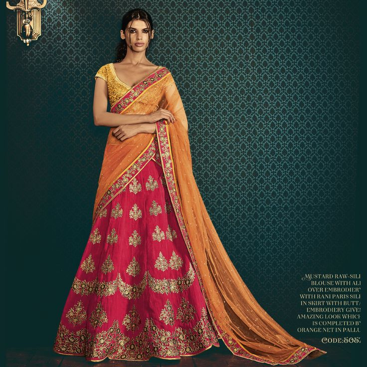 Orange-Magenta Paris Silk Heavy Embroidery Designer Bridal Lehenga Saree. Buy Now :- https://goo.gl/IwTDti #CashonDelivery & #FreeShipping Available In India.