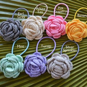 New for 2016 // Crochet Camellia Hair Elastic // Crochet Flower Hair Tie // Handmade Crochet Flower Ponytail Holder