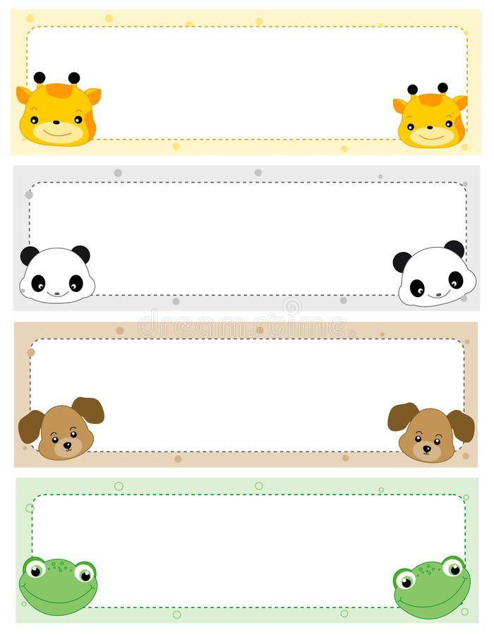 Illustration About Cute And Colorful Animals Web Site Header Banner Collection On White Illustr In 2021 Name Tag Templates Tag Template Free Christmas Tags Template