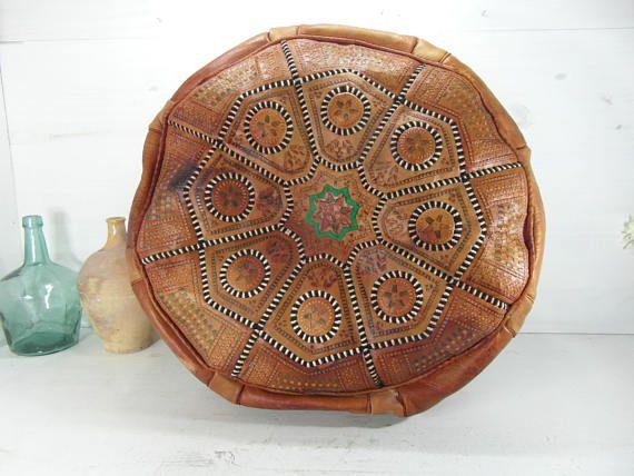 housse de pouf en cuir Vintage marocain la housse seulement