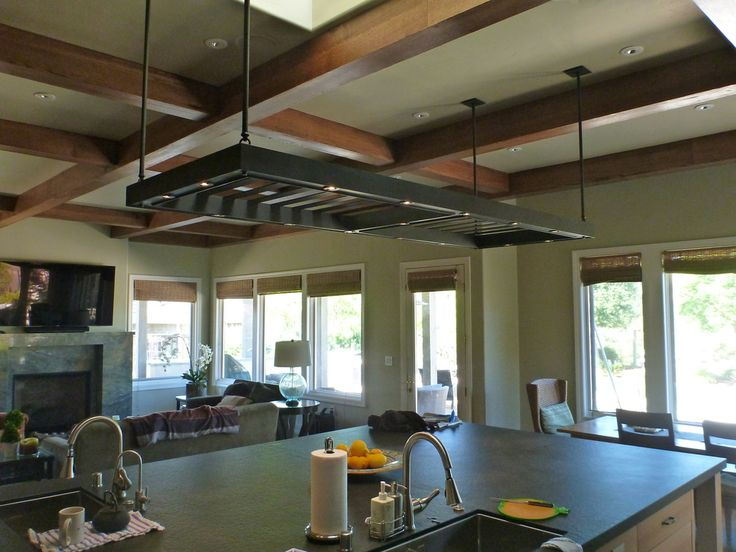 8 ft x 3 ft blackened steel kitchen island fixture with MR-11 LED's/ Nina Topper Interior Design