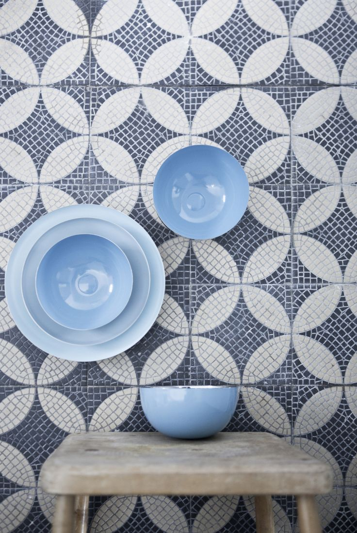 Amazing bowls in chrome and shades of blue by Lisbeth Dahl Copenhagen. Spring/Summer 2014. #LisbethDahlCph#DustandSparkle #blue #pastel #tiles