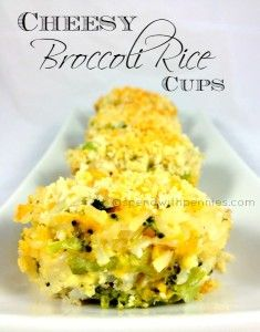 Cheesy Broccoli Rice Cups Love it? Pin it! (Just click the photo) Follow Spend With Pennies on Pinterest for more great recipes!  I love these as a side dish! Broccoli, cheese and rice are just meant to be put together! There are so many...