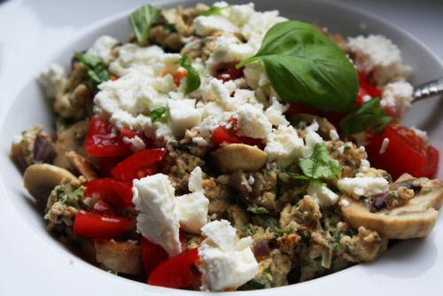 onlyhealthyfood:    Lunch: Scrambled eggs with mushrooms, tomatoes and feta.