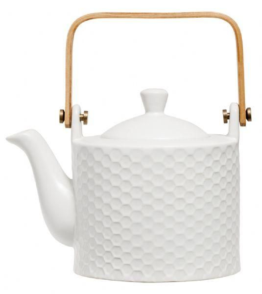 Hexagon patterned ceramic teapot with wooden handle. It has been said that a cup of tea can fix nearly anything, even if it doesn't we are sure that using this