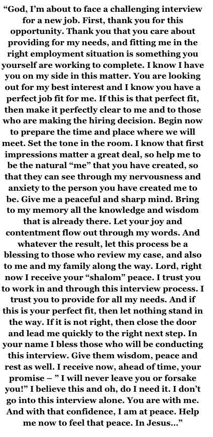 A good prayer to pray before a job interview.