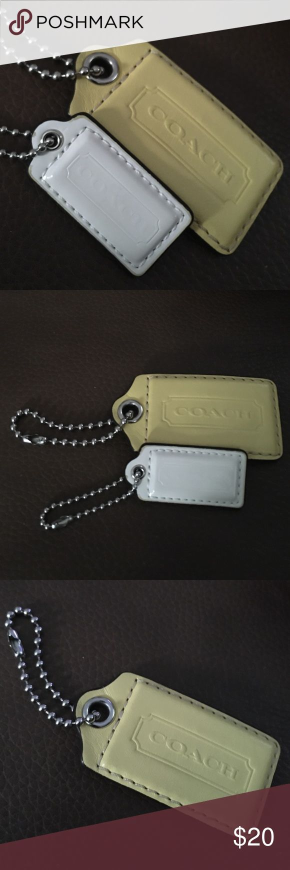 Coach two key change or card holder Very nice yellow is large and white is small Coach Accessories Key & Card Holders