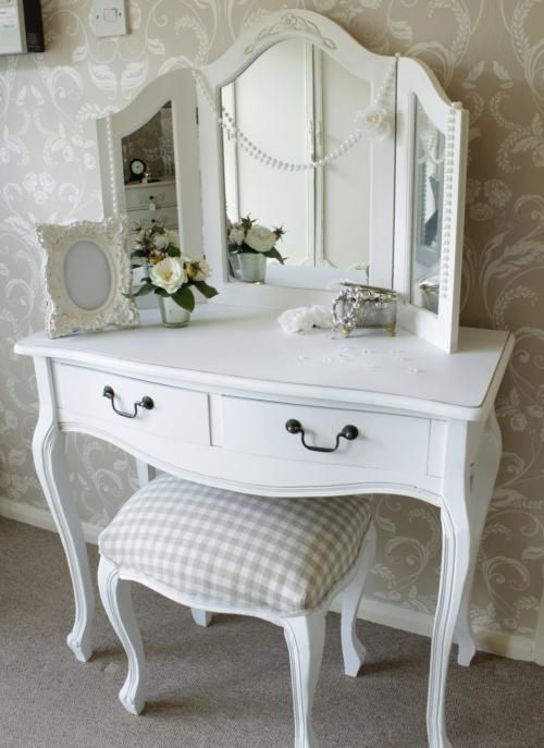 Classic white dressing table, mirror and stool set.  My daughter is in LOVE!