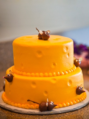 """""""Cheese"""" cake with mice @Emily Miller  Found your wedding cake, love!"""