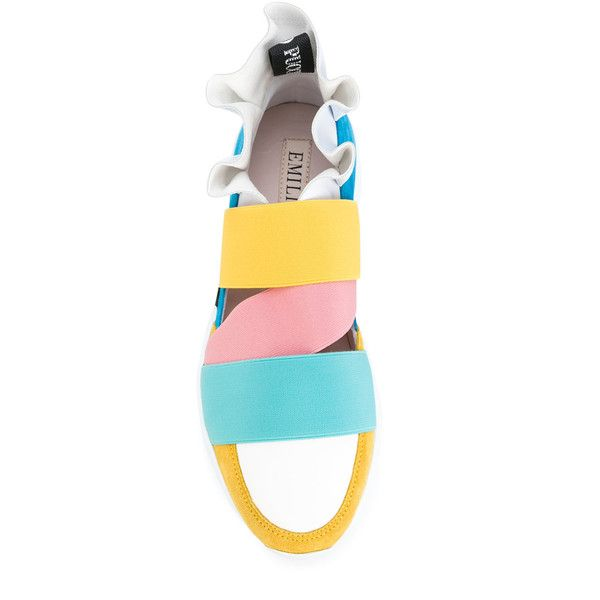 Emilio Pucci straped sneakers ($555) via Polyvore featuring shoes, sneakers, multi color sneakers, leather trainers, real leather shoes, multi coloured shoes and emilio pucci sneakers