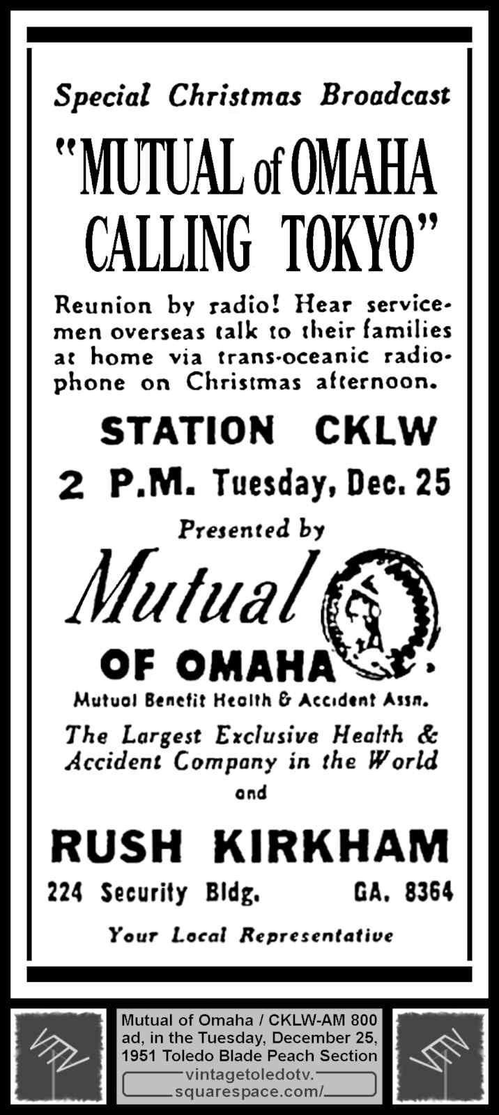 Special Christmas Broadcast Vintage Toledo TV Vintage