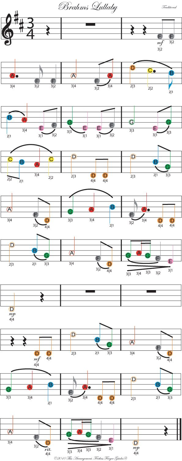 color coded free violin sheet music for brahms lullaby