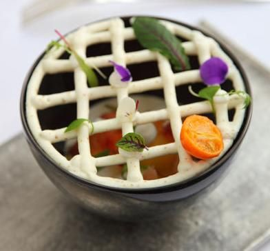 Dish from Kei, in Paris...newly bestowed One Michelin star.  Beautiful!