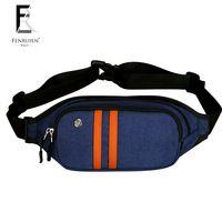 Fenruien Waist Bag Unisex Urban Cool Nylon Stripe Pillow Fanny Pack Navy Blue Men Money Phone Bags Shoulder Back Pack On Bicycle
