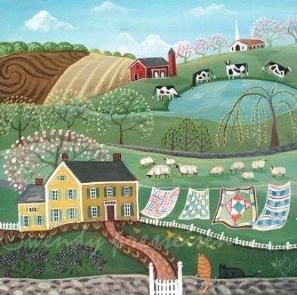 Folk Art Landscapes | sunshine summer day ... all is peaceful in pleasantville usa -