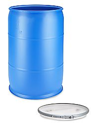 55 Gallon Blue Open Top Plastic Drum with Lid $77.00