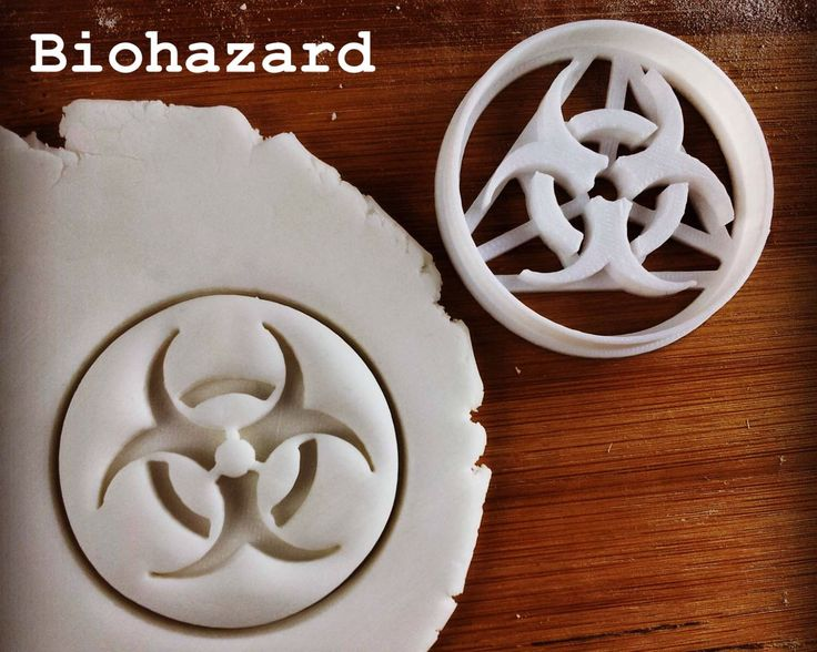 Biohazard & other Science Symbols cookies cutters | biscuits cutter Laboratory hazardous symbol Biological hazard Biohazardous one of a kind by Made3D on Etsy https://www.etsy.com/listing/226891715/biohazard-other-science-symbols-cookies