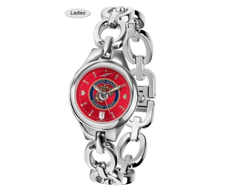 Eclipse US Marine Corps Watch is available in a two Ladies styles. Showcases the military logo. Stainless Steel Case and Band. Excellent quality. Free Shipping. Visit SportsFansPlus.com for Details.