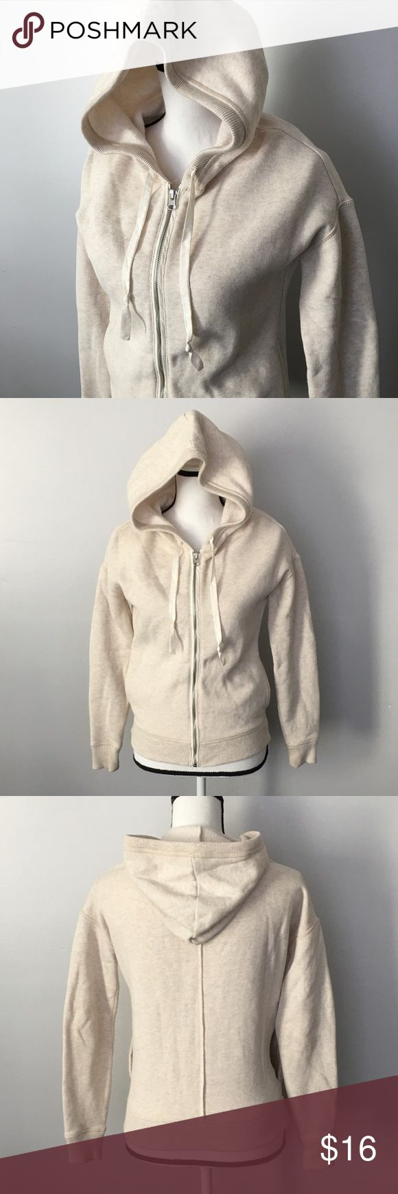 "EUC Aerie Cream Zip Up Hooded Sweatshirt Hoodie Aerie Zip Up Hooded Sweatshirt Size XS Cream Excellent Used Condition 19.5"" armpit to armpit (measured flat) Approx 21"" long aerie Tops Sweatshirts & Hoodies"