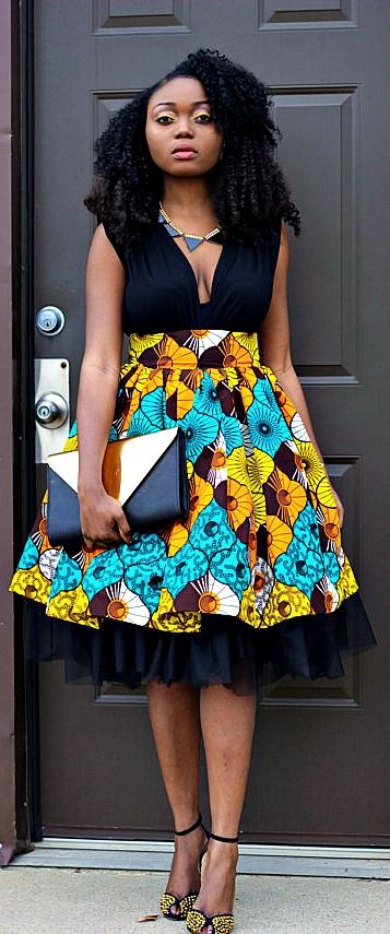 Ankara African Wax Print High Waist Tulle Gather Skirt. This is a high waist gather skirt made out of ankara african print fabric and a tulle fabric. Ankara | Dutch wax | Kente | Kitenge | Dashiki | African print dress | African fashion | African women dresses | African prints | Nigerian style | Ghanaian fashion | Senegal fashion | Kenya fashion | Nigerian fashion | Ankara crop top (affiliate)