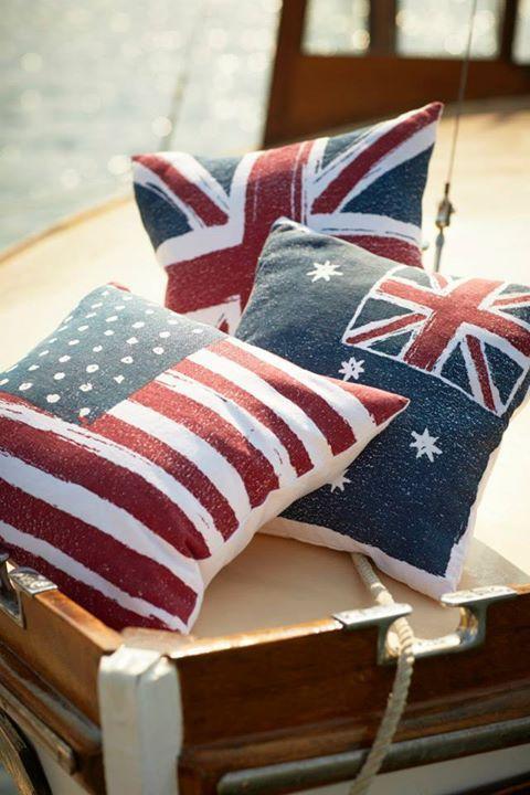 american flag pillow  British flag. I'll take one of each (sorry Australia)