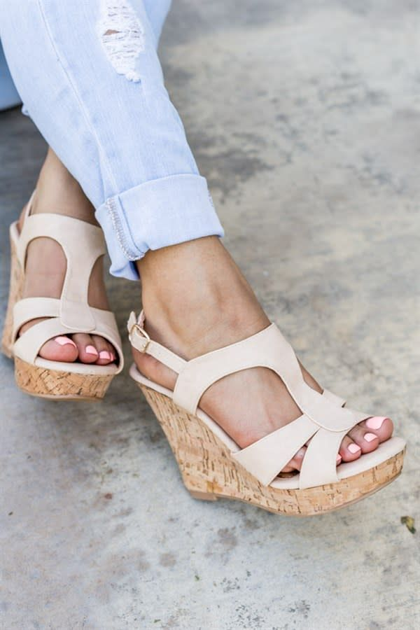 667b319ece5816 These wedges are absolutely GORGEOUS! They feature a stylish t-strap style  with a really cute look. We re absolutely loving these along with the cork  style ...