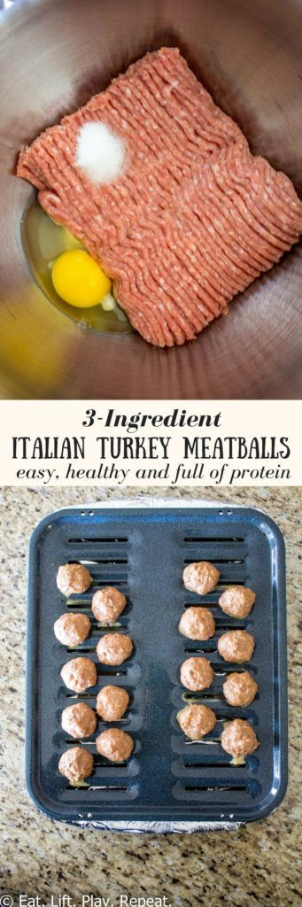 A simple, clean eating meatball recipe that takes 30 minutes to prepare. These healthy 3-ingredient Italian Turkey Meatballs are loaded with protein and are perfect to add to meal prep. Make a batch or two for the week or freeze a batch for last minute di