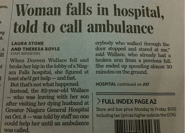Funny newspaper headlines- woman falls in hospital, told to call ambulance. Funny newspaper headlines.