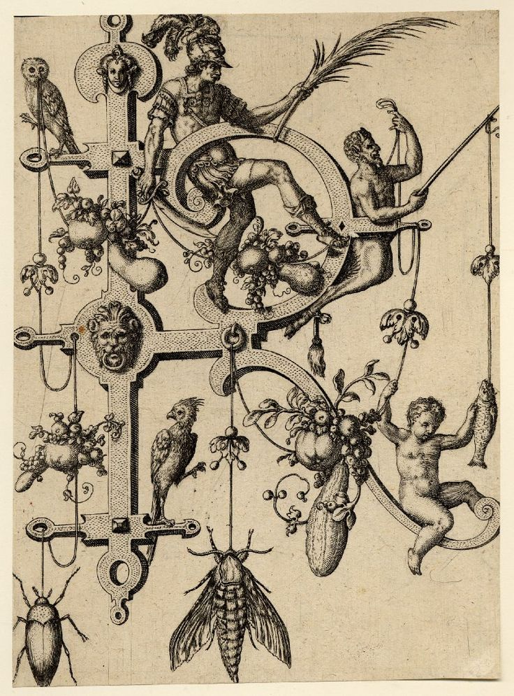 R; letter of the alphabet with a soldier (Rehoboam) holding a scimitar and a palm; includes a dangling beetle and moth. 1595