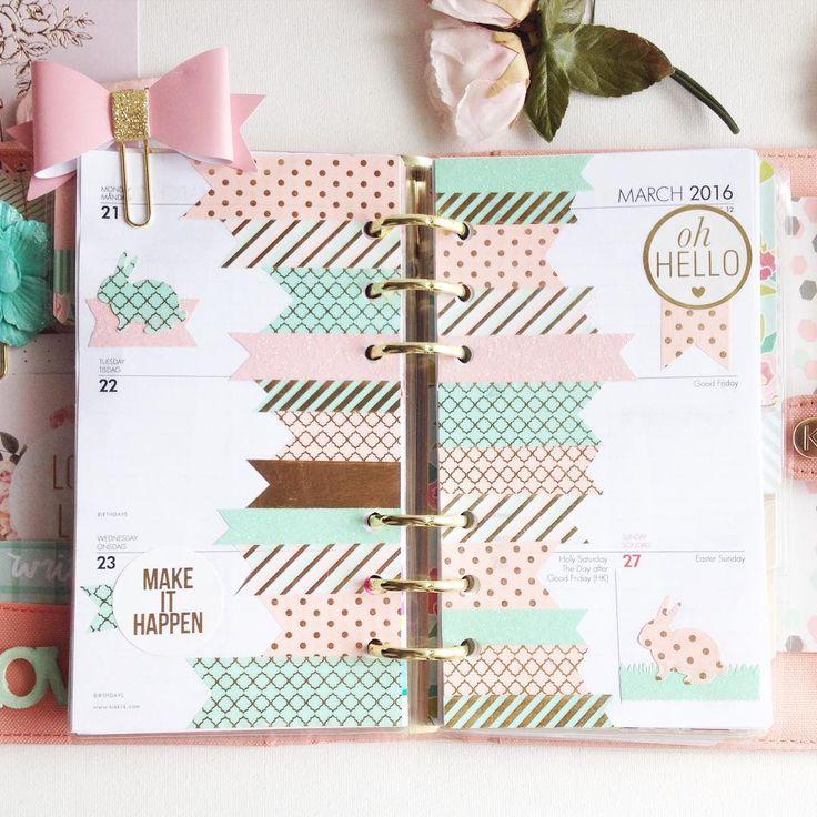 Peach Butterfly kikki.k planner inspiration color scheme, washi decoration. Make that paperclip