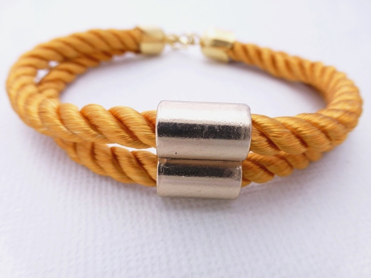 Gold Tube Mustard Rope Bracelet available at Whimsy & Grace NZ