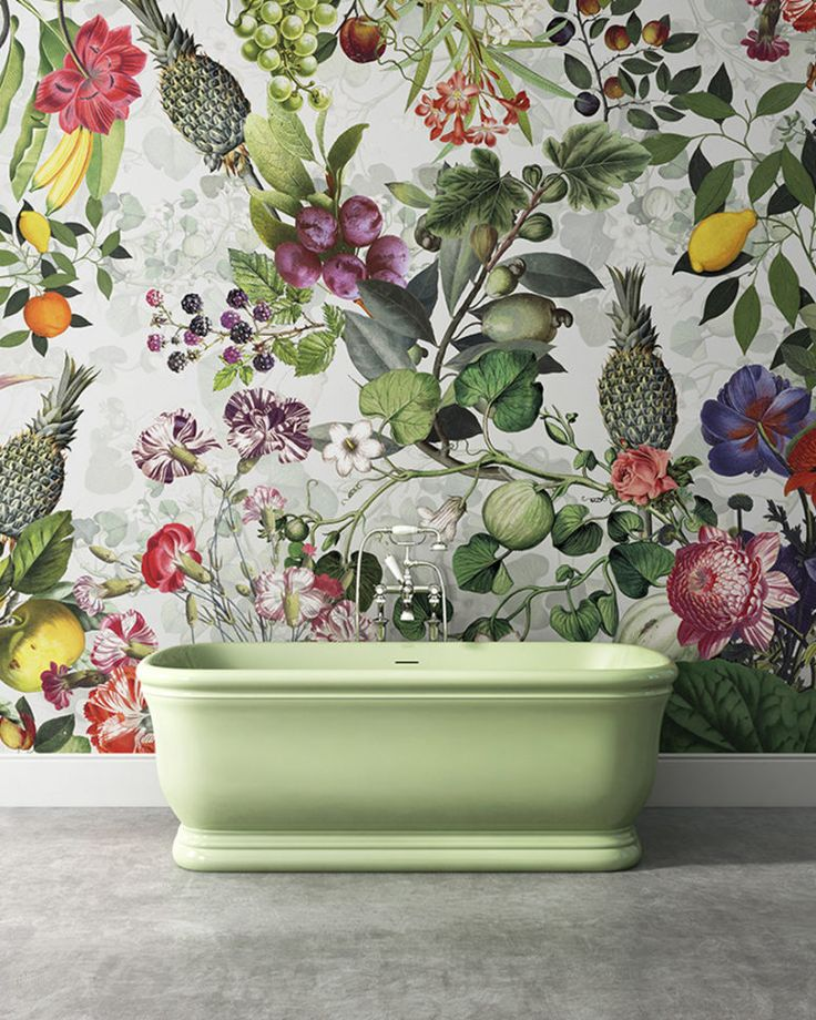 Botanical, floral and tropical print wallpaper for a bold bathroom