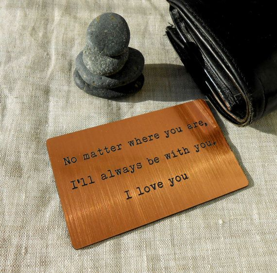 Wallet Insert Card Laser Engraved Wallet by CorkCountryCottage, $12.00-good idea for possible deployment.