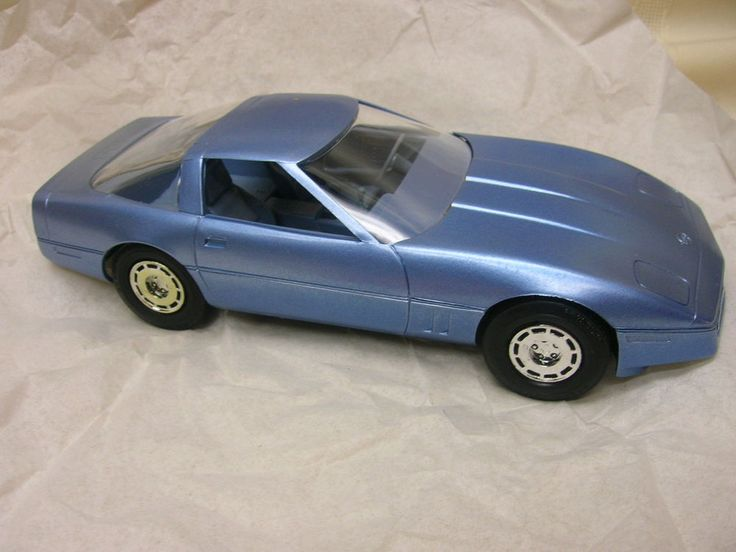 "1985 Corvette Toy Car Blue Plastic From Car Dealers 7"" Long  NIP #Corvette"