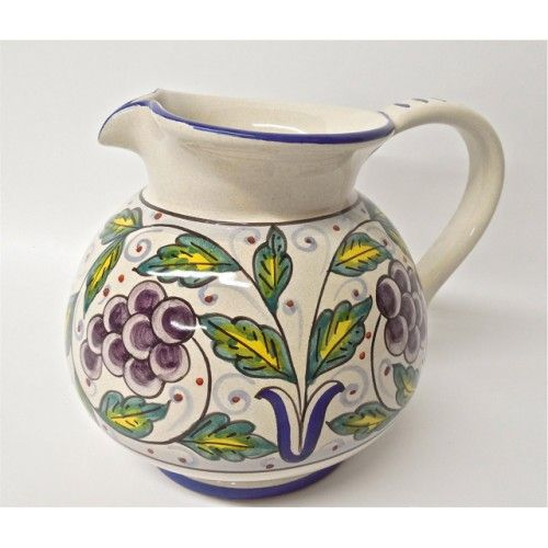 Handmade in Italy: Frutta Deruta Grapes Pitcher from Bonechi Imports