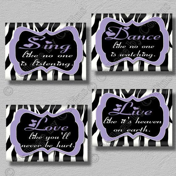 Purple Zebra Print Dance Sing Live Love Quote. Best 10  Zebra print walls ideas on Pinterest   Zebra print