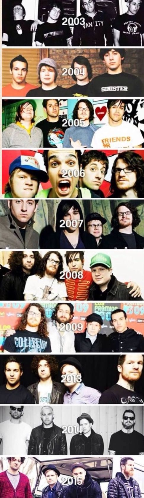 Fall Out Boy through out he years. It's mind blowing how far they've come -wipes away tear-