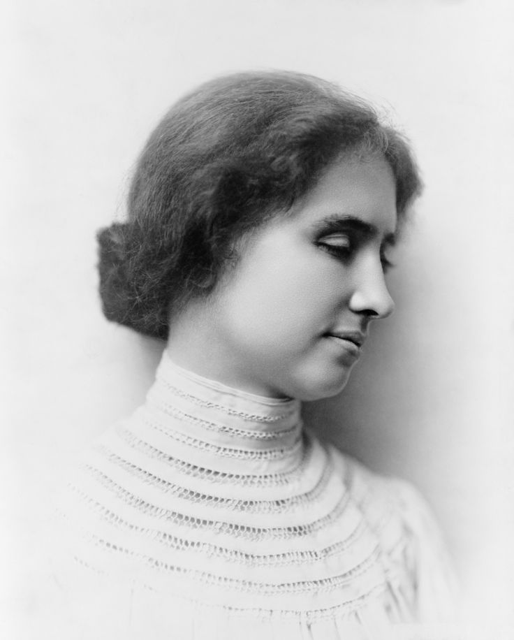 Helen Keller. American author, political activist, and lecturer. She was the first deaf and blind person to earn a Bachelor of Arts degree. The story of how her teacher, Anne Sullivan, broke through the isolation imposed by a near complete lack of language, has become widely known through the dramatic depictions of the play and film The Miracle Worker. A prolific author, Keller was well-traveled, and was outspoken in her opposition to war.