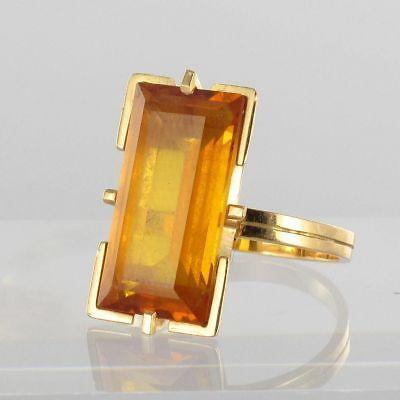 RARE-Bague-vintage-citrine-taille-emeraude-Or-jaune-18K-1960-1970-Ring