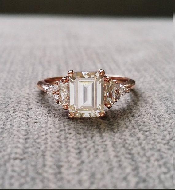 Antike Moissanite und Diamant Verlobungsring von PenelliBelle