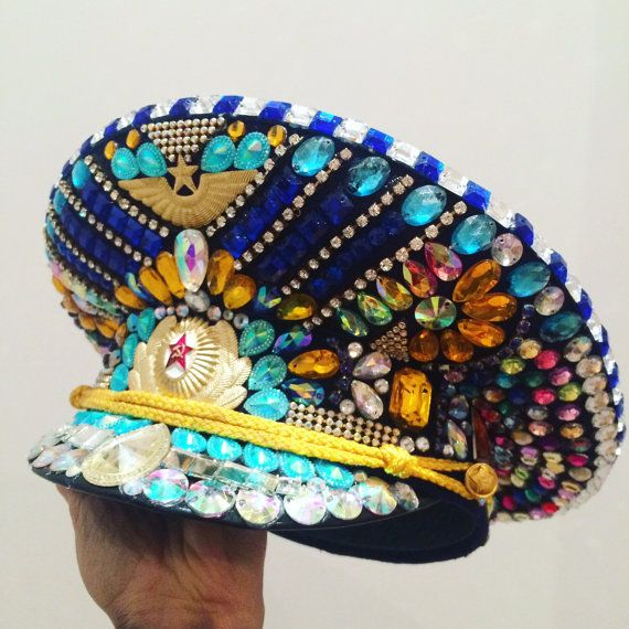 Crystallised Russian Military Hat for Clubbing Festivals