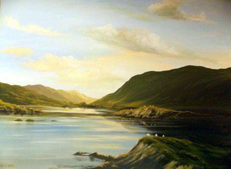 valley sheep  nov - Painting,  2x30x40 in ©2013 by Cathal O Malley -              connemara, sheep, painting irish