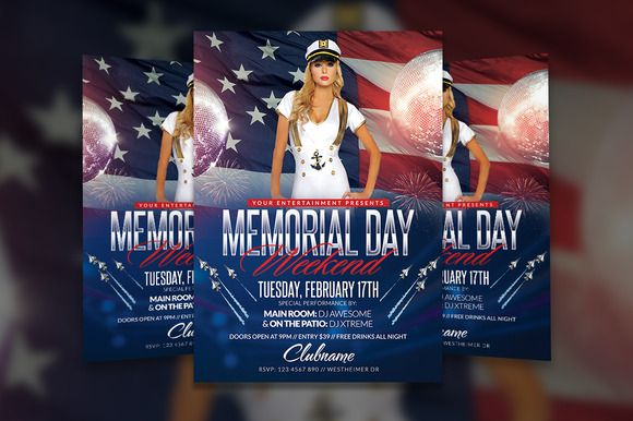 Memorial Day Weekend Flyer Template by Creative Waffle on @creativemarket